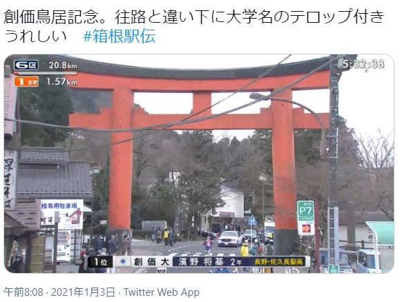 2021年箱根駅伝の創価大学が鳥居をくぐったとき