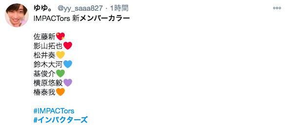 インパクターズのメンバーカラーがわかるTwitter