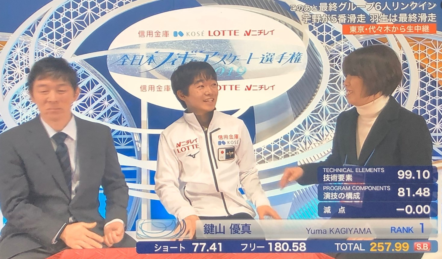 2019年全日本フィギュア選手権の鍵山優真選手
