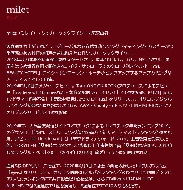 miletのプロフィール