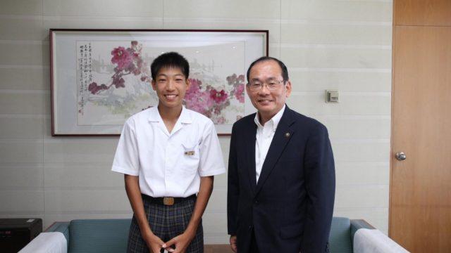 2016年8月2日に三浦龍司さんが浜田市長を表敬訪問されたとき